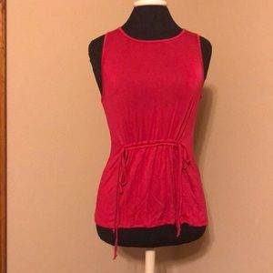 Anthropologie pink tank top with tie waist